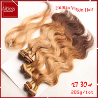 ombre 3 tone 27/30/4 virgin Indian body wave,100 human hair 6pcs with closure,cheap body wave indian virgin hair weave extension