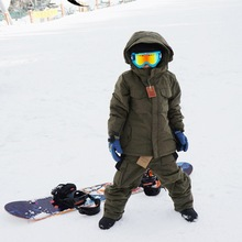 "2015 With B ""South Play Kids"" Winter Ski-Snowboard Boys & Girls Kahki Jacket With Pants Set (China (Mainland))"