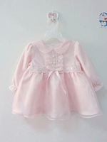 New arrival baby velvet  and organza formal dress, baby princess dress party dress with very nice lace sash and bow
