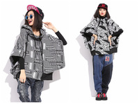 Hip-hop Letters/ Strip Pattern Women Loose Batwing Sleeves Hooded Coat Zipper Design Women Hoodies Free Size FS3085