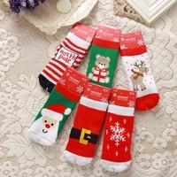 Classic festive christmas socks baby socks winter baby thickening thermal loop pile cotton knee-high socks children socks after