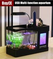USB Multi-function Aquarium LED Small Aquarium Calendar mini Fish Tank Free Shipping