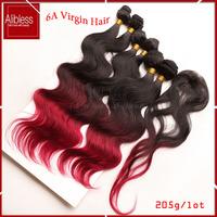 ombre hair bundles 1b 99j burgundy 3 tone Peruvian virgin hair extensions 6pcs lots,6a unprocessed body wave peruvian hair weave