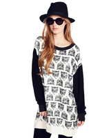 New Arrival Casual Small fox pattern print pullover Hoodie patchwork knitted sleeve contrast color loose sweatshirt moletom