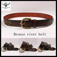 4 colors 100% TOP Cowhide Leather designer leisure belt Male/Women bronze rivet  belt Genuine leather+Free Shipping