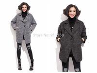 One-button Design Turn-down Collar Women Woolen Jacket Medium Style Gray/Black Warm Woolen Coat Free Size FS3093