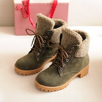50 New Women Vintage Ankle Snow Boots Winter Martin Boots Girl Suede Nubuck Leather Booty Low Heel Botas Europe Black Shoes