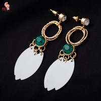 2015 Timeless New Fashion Long Strong Statement  Leaves Ladies Dangle Earring For Women