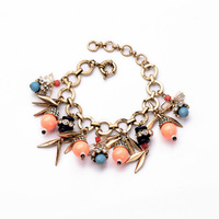 Trendy Vintage Jewelry Charm Handmade Fashion Acrylic Bangles Women Alloy Bracelets