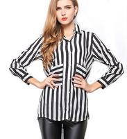 Spring European  American women lapel temperament  thin loose long-sleeved shirt striped shirt pocket