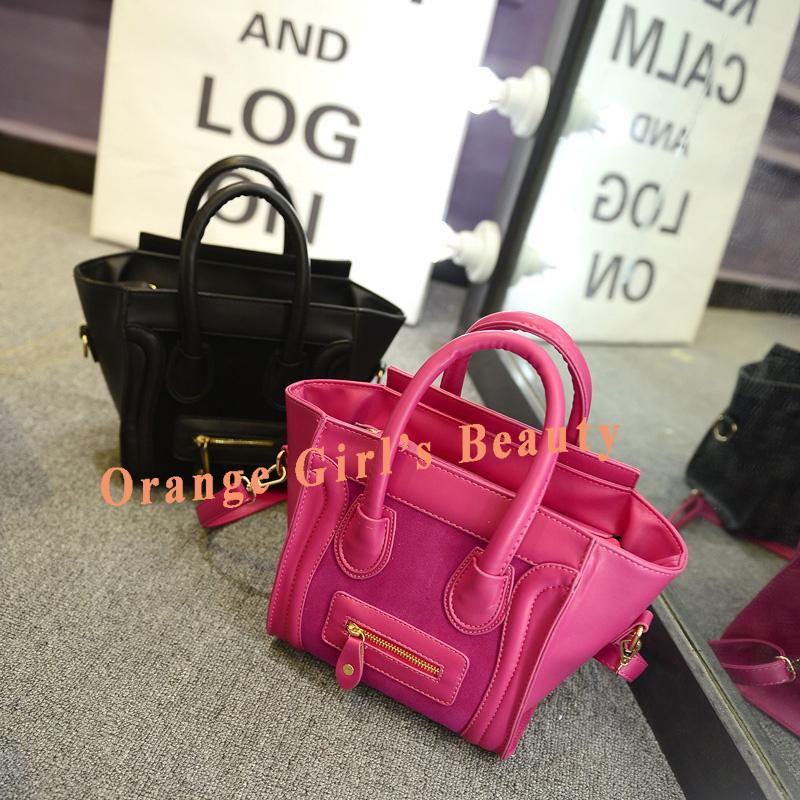 Wholesale Price Bolsas Femininas 2014 Orange Girl's Beauty Popular Women Bag Soft PU Smile Face Handbags Free Shipping(China (Mainland))