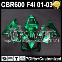 7gifts Green silver For HONDA CBR600 F4i 01 02 03 CBR 600 F4i FS  J72322 silver flame CBR600FS  CBR600F4i 2001 2002 2003 Fairing