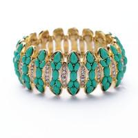 New Handmade Stretch Green Vintage Jewelry Magnetic Fashion Women Alloy Bracelets Bangles