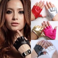 Fashion Half Finger PU Leather Gloves Ladys Fingerless Driving Show Pole Dance 9 Colors