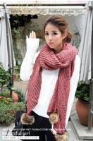 2014 New Hot Fashion Big Rabbit Fur Ball Scarves Winter Big Shawl Warm Thick woman Wool Knitting Scarf