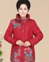 new winter quinquagenarian Middle-aged silm long thick printing mother dress shirt long winter coat causal outwear down jacket