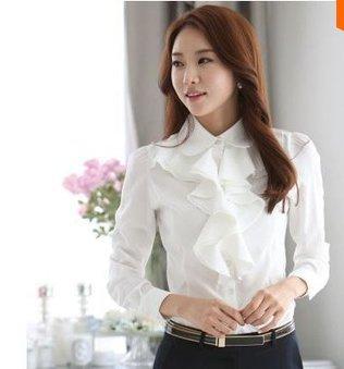 Color White Black !! Big Size S M L XL XXL Women Brief Chiffon Full Sleeve Ruffles Shirt OL Occupation Chiffon Blouse(China (Mainland))