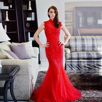 100% REAL PHOTOS vintage high collar red wedding dress 2014 vestido de novia  M22
