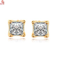 Latest Fashion Women Classic Square Stud Earring Plating 18 K Gold Shining Crystal  Hotsale