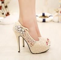 2015 new lace rhinestone sandals high-heeled sandals female nightclub necessary shoes