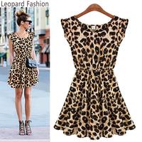 Hot Selling Women's New Nightclub Sexy Leopard Dress Casual Short-sleeved Round Neck Leopard Summer Dress