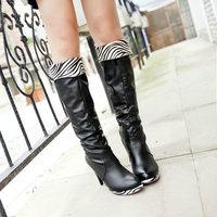 Big size fashion shoes round toe thin heels women knee-high boots Z1LJWL-288