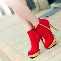 Large size Hot sale autumn&spring shoes round toe thin heel zip ankle bootsZ1RXE-321-2