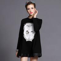 Brand Ladies Vintage Lion Print Long Sleeve A-line Black work Dresses Autumn Winter Fashion Plus Size Women Clothing 3XL-5XL