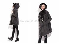 Irregular Medium Style Women Winter Woolen Jacket Big-pocket Warm Hooded Woolen Coat Free Size FS3105
