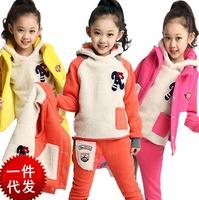2015 Three-piece Girl Clothing Set Kid Baby Outwear Children Cotton Hoodies Sweatshirt+Pant+Vest Spring Autumn Top Quality