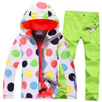 free shipping women Ski suit Women set gsou single snow ski suit set thermal windproof waterproof ski wear