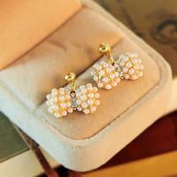 Fashion elegant diamond pendant pearl crystal bow stud earring