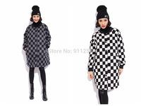 Hip-hop Women Medium Style Woolen Jacket Thick Warm Winter Plaid Woolen Coat Parka 2 Colors Free Size FS3109