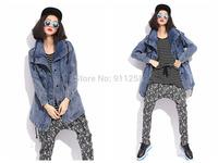 Hot Sales Women Hip-hop All-match Blue Washed Jean Denim Jacket Women Autumn Winter Loose Jean Coat Free Size FS3104