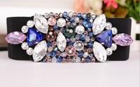 2014 New Arrival Cintos Femininos Palace Retro Fashion Diamond Jeweled Wide Belt Elastic Belts For Women