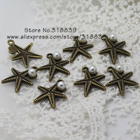 (20 pieces/lot) 18*22mm Antique Bronze Metal Alloy Lovely White Pearl Starfish Charms Jewelry Starfish Pendant 7797