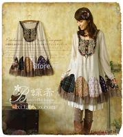 Harajuku Japanese Mori style knitted dress peacock patchwork lolita girl winter faldas long sleeve cotton novelty dress vestido