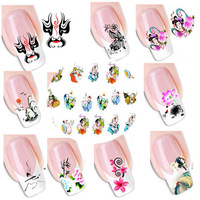 10 Sheets Nail Art Orient China Style Geisha Girl Flower 3D Nail Sticker Water Transfer Decals Manicure Wraps DIY Decorations