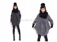 Stylish Scarf-collar Women New Woolen Jacket Plus Thick Warm Winter Coat Medium Style Gray/Black 2 Colors Free Size FS3099