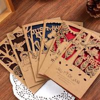 (1 Lot=6 Sets) 6 Styles DIY Vintage Wedding Invitation Kraft Postcards Christmas Birthday Greeting Envelopes Cards