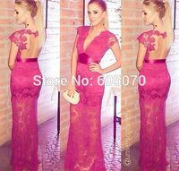 2014 Vestidos Pink Lace Open Back Prom Dress Evening Maxi Dress Women Dress V neck Open Back