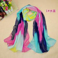 2014 new Korean style women candy color printed chiffon scarves Female fashion Winter Spring spain desigual scarf bandana shawl