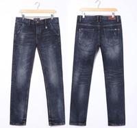 2014 spring new Korean fashion men's jeans 3pcs/lot, tight stretch pants feet washed blue casual denim trousers men