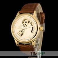 Luxury Gold Men's Mechanical Steampunk Skeleton Hand Wind Watch Men