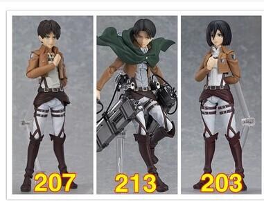 attack on titan Shingeki no Kyojin Figma 213 203 207 Levi Mikasa Ackerman Eren Jaeger marvel action figures figure toy model(China (Mainland))