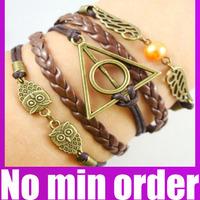 Vintage Multilayer Braided Owl Harry Potter Imitation Pearl Wings Infinity Leather Bracelet - no minimum order