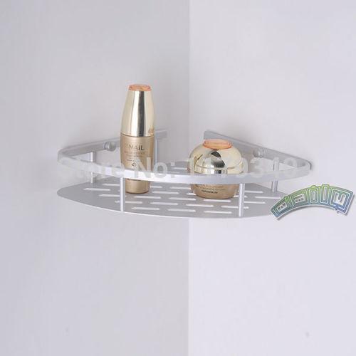 corner bathroom soap shampoo shower shelf tower holder triangle rack alumimum