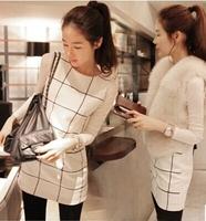 Autumn and winter women sweet long-sleeve square grid one-piece dress elegant basic tank dress twinset female