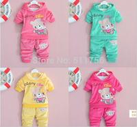 2015 Spring autumn bear children clothing set  baby boys casual set hoodies pants girls sport sets Toddler floral Velvet clothes