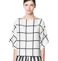 2014 spring  summer new women  Europe  America loose big yards bat shirt collar chiffon plaid shirt hedging